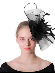 cheap -Women's Ladies Tiaras For Wedding Party / Evening Feather Fabric Black