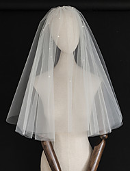 cheap -Two-tier Classic Style / Love Wedding Veil Elbow Veils with Faux Pearl / Trim Tulle / Drop Veil