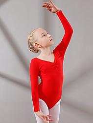cheap -Kids' Dancewear / Ballet Leotards Girls' Training / Performance Cotton Ruching Long Sleeve Natural Leotard / Onesie