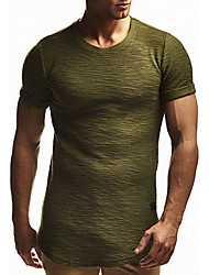 cheap -Men's Causal Casual Basic EU / US Size Cotton T-shirt - Solid Colored Round Neck Rainbow / Short Sleeve