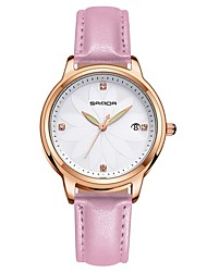 cheap -Women's Dress Watch Quartz Leather Black / White / Red Calendar / date / day Casual Watch Analog Casual Fashion - Coffee Red Pink