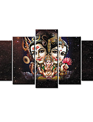 cheap -Print Rolled Canvas Prints Stretched Canvas Prints - Fantasy Holiday Comtemporary Modern Five Panels Art Prints