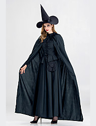 cheap -Witch Dress Cosplay Costume Hat Cloak Adults' Women's Dresses Halloween Halloween Carnival Masquerade Festival / Holiday Polyster Black Carnival Costumes Solid Colored