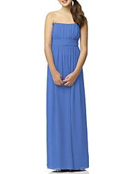 cheap -Sheath / Column Bandeau Floor Length Chiffon Junior Bridesmaid Dress with Pleats / Bandage by LAN TING BRIDE®