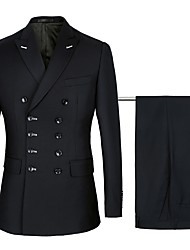 cheap -Navy / Black Solid Colored Standard Fit Cotton / Polyster Suit - Peak Double Breasted Six-buttons / Suits
