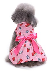 cheap -Dogs Dress Dog Clothes Yellow Pink Dark Blue Costume Bichon Frise Schnauzer Pekingese Terylene Character Bowknot Fruit Sweet Style Casual / Daily XS S M L