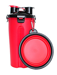 cheap -Pets Feeding & Watering Supplies / Bowls & Water Bottles / Food Storage 0.35 L Plastic Outdoor Travel Solid Colored Red Bowls & Feeding