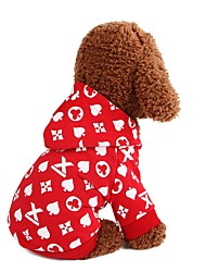 cheap -Dogs Sweatshirt Dog Clothes Print Fruit Love Red Blue Cotton Costume For Corgi Beagle Bulldog Spring Fall Male Female Casual / Daily Simple Style