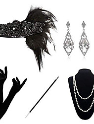 cheap -The Great Gatsby Charleston 1920s The Great Gatsby Costume Accessory Sets Masquerade Women's Costume Bead Bracelet Pearl Necklace Black Vintage Cosplay Party Halloween / 1 Necklace / Gloves