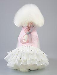 cheap -Dog Cat Pets Dress Tuxedo Holiday Decorations Animal Character Princess Fashion Cute Dog Clothes White Pink Costume Cotton Jacquard Natural Sponges XS S M L XL