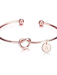 cheap -Women's Bracelet Geometrical Love knot Letter Twist Circle Simple Geometric European Casual / Sporty Fashion Rose Gold Plated Bracelet Jewelry Rose Gold For Wedding Gift Holiday Birthday Festival