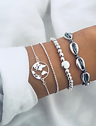 cheap -Women's Bead Bracelet Pendant Bracelet Layered Maps Letter Shell Tropical Trendy Casual / Sporty Cotton Bracelet Jewelry Silver For Daily Holiday Work