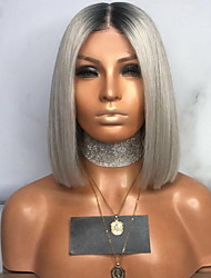 cheap -Costume Accessories Straight With Bangs Wig Short Grey Synthetic Hair 35 inch Women's Women Gray