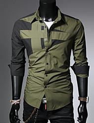 cheap -Men's Shirt - Color Block Red / Long Sleeve