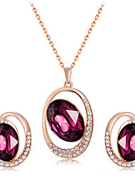 cheap -Women's Fuchsia Crystal High End Crystal Pendant Necklace Earrings Unique Design Romantic Fashion Rose Gold Plated Imitation Diamond Earrings Jewelry Dark Red For Party Engagement Formal 3pcs