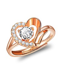 cheap -Women's Ring Cubic Zirconia 1pc Rose Gold 18K Gold Plated Stylish Luxury Romantic Party Engagement Jewelry Classic Heart Heart Lovely