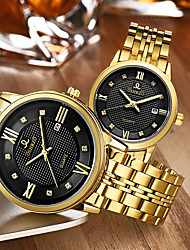 cheap -Couple's Dress Watch Gold Watch Quartz Matching His And Her Stainless Steel Gold 30 m Water Resistant / Waterproof Calendar / date / day Creative Analog Luxury Fashion - Gold White Black