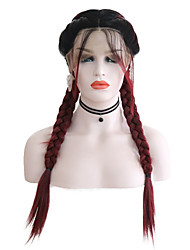 cheap -Human Hair Lace Wig Plaited Middle Part Lace Front Wig Burgundy Short Black / Burgundy Synthetic Hair 26 inch Women's Women Burgundy
