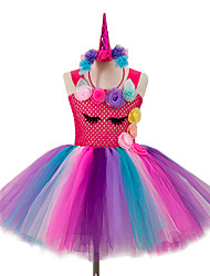 cheap -Unicorn Cosplay Costume Costume Girls' Movie Cosplay Colorful Plaited Fuchsia Dress Headwear Christmas Halloween Carnival Polyester / Cotton Polyester