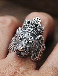 cheap -Men's Statement Ring Promise Ring AAA Cubic Zirconia 1pc Gray Alloy irregular Statement Wedding Engagement Jewelry Geometrical Lion Animal Cool