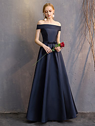 cheap -A-Line Off Shoulder Floor Length Silk Bridesmaid Dress with Pleats