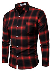 cheap -Men's Cotton Shirt - Plaid Black