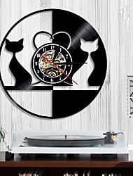 abordables -1 pièce rétro conception amour chat horloge murale animal vinyle record horloge couple chat décoration de la maison