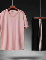 cheap -Men's Soccer Soccer Jersey and Shorts Clothing Suit Breathable Sweat-wicking Team Sports Active Training Football Stripes Polyester Adults Pink