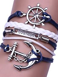cheap -Men's Women's Wrap Bracelet Braided Anchor Hip-Hop Cord Bracelet Jewelry Black / Dark Blue For Gift Daily