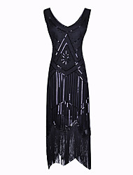 abordables -Gatsby Charleston Rétro Vintage Années 1920 Taille de guêpe Robe à clapet Robe Femme Paillettes Franges Paillette Costume Noir Vintage Cosplay Soirée Retour Mi-long