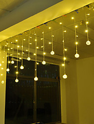 cheap -4m 96 LEDs Icicle Curtain Light Silver Flat Iron Ball String Light White  Blue  Warm White  Pink  Purple  Red  Yellow  Multi-color 220-240V 1pc