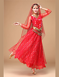 cheap -Indian Girl Bollywood Adults' Women's Asian Sequins Churidar Salwar Suit Saree For Performance Festival Tulle Sequin Polyster Long Length Top Skirt Headpiece Headband Legguards