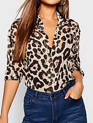cheap -2019 New Arrival Shirts Women's Shirt - Leopard Shirt Collar Brown Camisas Mujer Chemise Femme XL