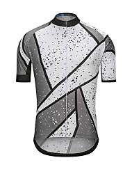cheap -Men's Short Sleeve Cycling Jersey Gray+White Dot Bike Jersey Top Sports Terylene Clothing Apparel / High Elasticity