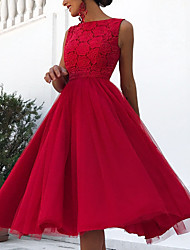 cheap -A-Line Elegant Cute Holiday Cocktail Party Dress Jewel Neck Sleeveless Knee Length Taffeta with Pattern / Print 2020