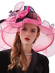 cheap -Organza / Feathers / Net Kentucky Derby Hat / Fascinators / Headdress with Feather / Flower / Net 1 Piece Wedding / Outdoor Headpiece