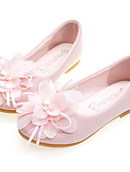 cheap -Girls' Comfort / Flower Girl Shoes Microfiber Flats Toddler(9m-4ys) / Little Kids(4-7ys) Flower Pink / Ivory Spring / Fall / Wedding / Party & Evening / Wedding / Rubber