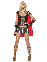 cheap -Warrior Dress Cosplay Costume Adults' Women's Dresses Halloween Halloween Carnival Masquerade Festival / Holiday Polyster Red+Black Carnival Costumes Patchwork