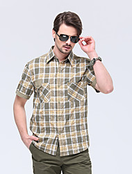 cheap -Men's Hiking Shirt / Button Down Shirts Short Sleeve Outdoor Sunscreen Breathable Quick Dry Wear Resistance Top Summer Chinlon Camping / Hiking / Caving Traveling Indoor Khaki / Multi Pocket