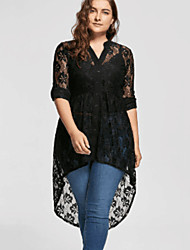 cheap -Women's Black Dress A Line Solid Colored V Neck Lace XL XXL Slim