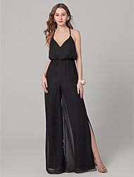 cheap -Sheath / Column Spaghetti Strap Floor Length Chiffon Bridesmaid Dress with Split Front