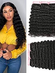cheap -4 Bundles Brazilian Hair Deep Wave Virgin Human Hair Natural Color Hair Weaves / Hair Bulk Bundle Hair One Pack Solution 8-28inch Natural Color Human Hair Weaves Waterfall Odor Free Soft Human Hair
