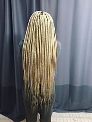 abordables -Perruque Lace Front Synthétique Tressé Coupe Dégradée Lace Frontale Perruque Long Blond Platine Cheveux Synthétiques 24 pouce Femme Homme Blanc Sylvia