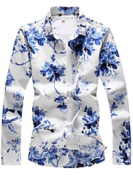 cheap -Men's Plus Size Cotton Shirt - Floral Blue