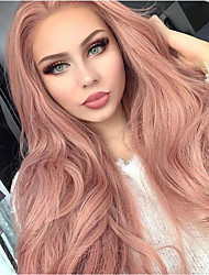 cheap -Synthetic Lace Front Wig Natural Wave Kardashian Style Middle Part Lace Front Wig Natural Black Pink Synthetic Hair 20-26 inch Women's Natural Hairline Rose Pink Wig Long Sylvia 180% Density