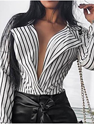 cheap -2019 New Arrival Blouses Women's Slim Blouse - Solid Colored Shirt Collar White M Blusas Mujer Chemise Femme