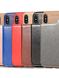 cheap -Case For Apple iPhone XS / iPhone XR / iPhone XS Max Wallet / Card Holder / Shockproof Back Cover Solid Colored Hard PU Leather / Genuine Leather