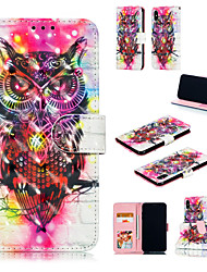 cheap -Case For Apple iPhone XS / iPhone XR / iPhone XS Max Card Holder / with Stand / Flip Full Body Cases 3D Cartoon / Owl Hard PU Leather