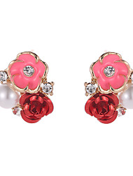 cheap -Women's Cubic Zirconia Stud Earrings Roses Classic Cute Imitation Pearl Earrings Jewelry Gold For Holiday Going out Work 1 Pair