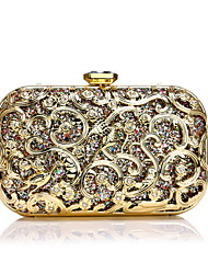 cheap -Women's Crystals Alloy Evening Bag Floral Print Gold / Silver / Blue / Fall & Winter